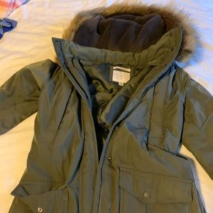 Green parka with faux fur hood!
